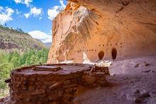 Indian Ruins In Bandelier National Monument, New Mexico, USA