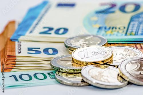 Cuadros en Lienzo Euromünzen und Euroscheine