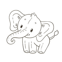 Cute Elephant. Coloring Book Page For Children.