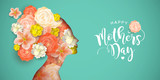 Fototapeta Kwiaty - Happy Mothers Day card of papercut mom and flowers