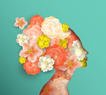 Papercut Woman Head With Sprin...