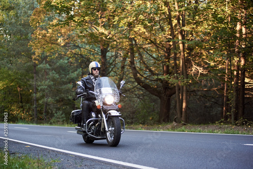 Cuadros en Lienzo Handsome bearded biker in sunglasses, helmet and black leather clothing riding cruiser motorcycle along asphalt road winding among tall green trees on sunny summer evening