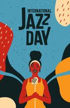 International Jazz Day Retro Poster Of Woman Singer