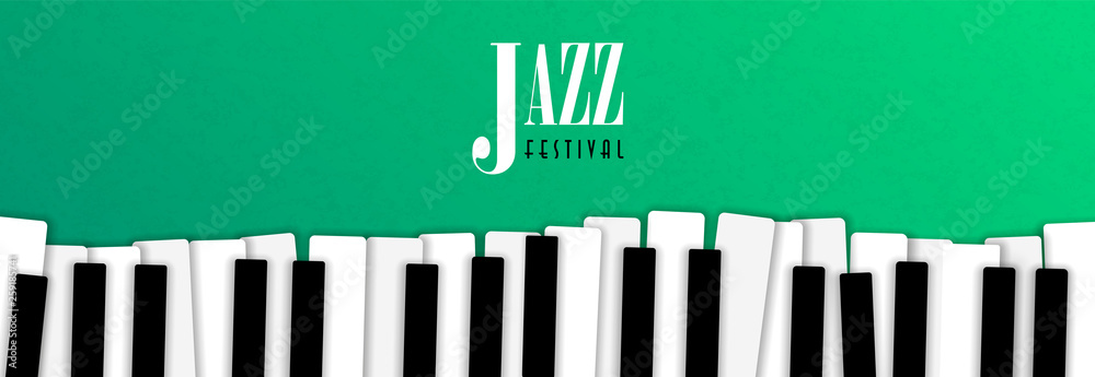 Fototapeta Jazz music event banner with piano background