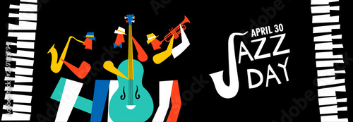 Jazz Day banner of music band in concert Canvas Print