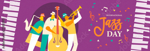 Photo Jazz Day banner of live band in concert event