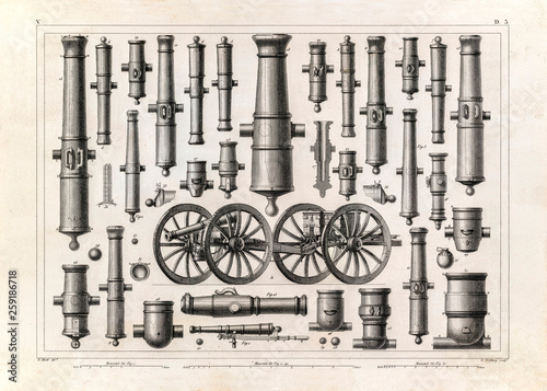Fotografie, Obraz Old cannons illustration