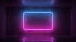 3d render of neon frame on background in the room. Banner design. Retrowave, synthwave, vaporwave illustration.