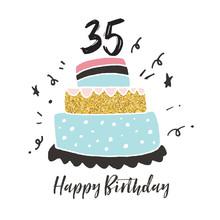 35th Birthday Hand Drawn Cake Birthday Card