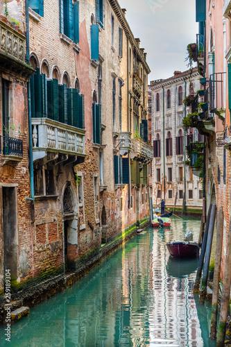 Aluminium Prints Venice Traditional canal street in Venice, Italy