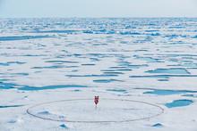 Circle Around Sign On North Pole, Arctic