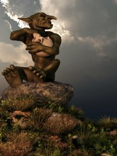 A Little Goblin With Green Skin Sits On A Pile Of Rocks And Eats From A Skull Like It's A Bowl.  The Fantasy Monster Looks To The Side With A Sneer.  3D Rendering