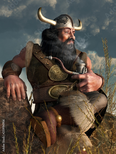 Foto A dwarf in fantasy attire complete with a horned helmet and fur trimmed boots sits on a rock enjoying a puff from his favorite carved pipe which looks like a dragon claw holding a bowl
