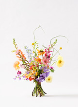 Flower Bouquet Against White Background