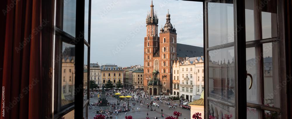 Obraz Old Main Square Krakow Poland Panorama fototapeta, plakat