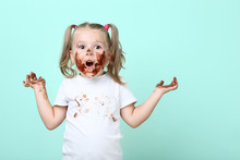 Happy Little Girl In Chocolate...