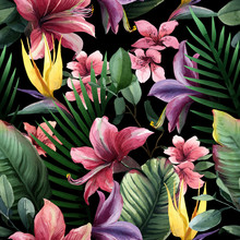 Watercolor Seamless Pattern Of Tropical Flowers And Leaves On Dark