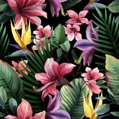 Fototapeta Popularne Watercolor seamless pattern of tropical flowers and leaves on dark
