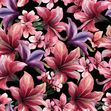 Watercolor Seamless Pattern Of Tropical Red Flowers On Black