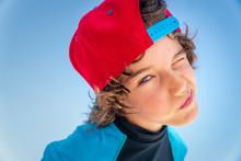 Beautiful Cool Boy  With Baseball Cap Backwards   Surfer  Type Winking