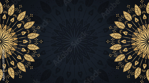 Valokuva Gold mandala template background with place for text