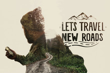 Double Exposure Landscape With Bearded Traveler, Road And Lettering. Metaphor Of Travel.