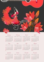 Calendar For 2020 Year. Beautiful Vector Template. Treble Clef And Sheet Music, Girl In Red Dress Dancing Flamenco, Beautiful Bouquet Of Lilies And Half Of The Silhouette Of Guitar Against Black