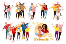 Vector Illustrations, Group Of Smiling Friends Standing Together. Set Fashion Teenage Boys And Girls Embracing Each Other. Happy People Isolated On White Background. Detalized Cartoon