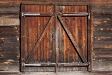 Grunge Wooden Barn Door. Rusti...