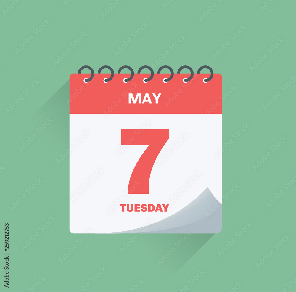 Fototapety, obrazy: Day calendar with date May 7.