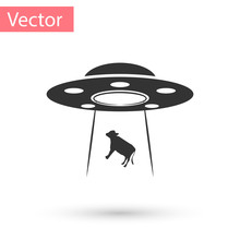 Grey UFO Abducts Cow Icon Isol...