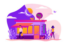 24 7 Service, Business Time Schedule, Extended Working Hours And Any Time Available Service. Vector Isolated Concept Illustration With Tiny People And Floral Elements. Hero Image For Website.