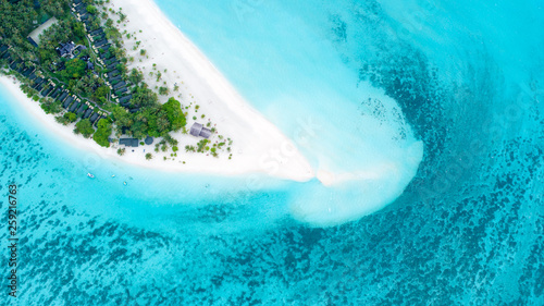 Poster Turquoise Beautiful aerial view of Maldives and tropical beach . Travel and vacation concept