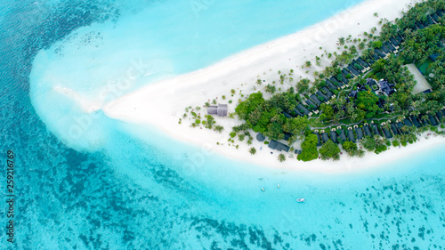 Photo Stands Turquoise Beautiful aerial view of Maldives and tropical beach . Travel and vacation concept