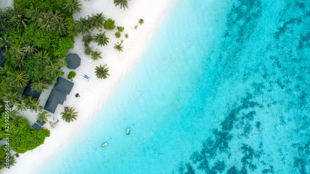 Fototapeta Beautiful aerial view of Maldives and tropical beach . Travel and vacation concept
