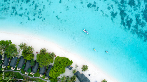 Fotobehang Turkoois Beautiful aerial view of Maldives and tropical beach . Travel and vacation concept