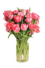 Bouquet Of Pink Tulips In A Gl...
