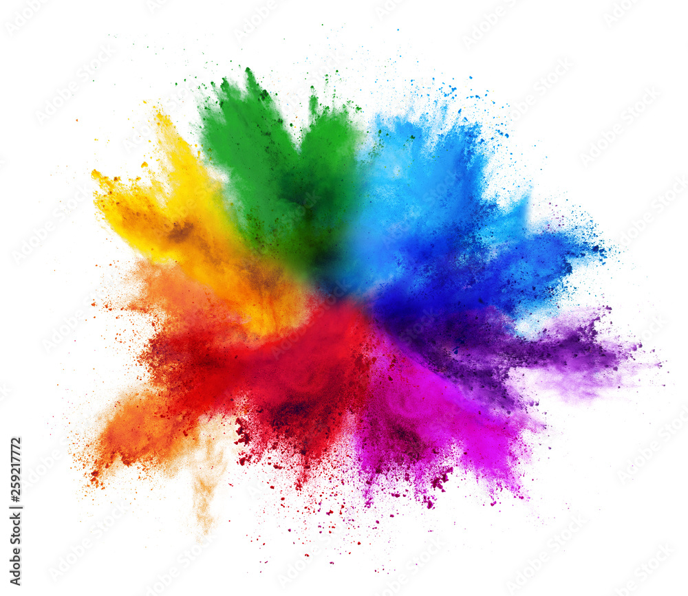 Fototapeta colorful rainbow holi paint color powder explosion isolated white background