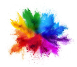 Fototapeta Tęcza - colorful rainbow holi paint color powder explosion isolated white background