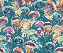 Pattern With A Lot Of Watercolor Multicolored Jellyfishes