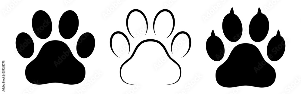 Fototapety, obrazy: Different animal paw print vector illustrations