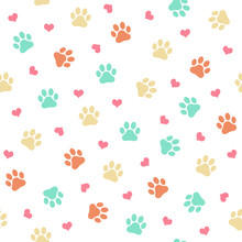 Colorful Cat Or Dog Paw Print - Seamless Pattern Vector Illustration