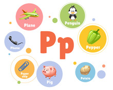 Vector Illustration Colored Set Objects With P Letter