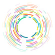 Vector modern creative backdrop of vivid multi colored curved elements.Multicolored decorative design halftone circle lines isolated on white.Circular abstract background.