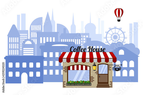 Photo Coffee shop on the background of the city
