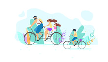 Vector Young Family Riding Bike On Nature Flat