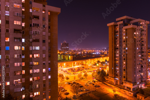 Fototapety, obrazy: Colorful city night with lights on