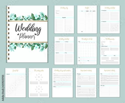 Obraz Wedding planer organizer with checklist, wish list, party time etc. Floral diary design for wedding organisation. Vector wedding planer. - fototapety do salonu