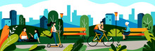 People In City Park. Vector Flat Illustration. Spring And Summer Weekend Leisure Activity Concept. Nature Background