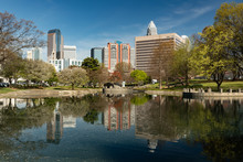Charlotte, North Carolina Skyline Cityscape On A Spring Day With Copy Space